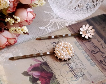 Set of 2 bobby hair pins Rhinestone pearl enamel flower hair pins Vintage style hair pins