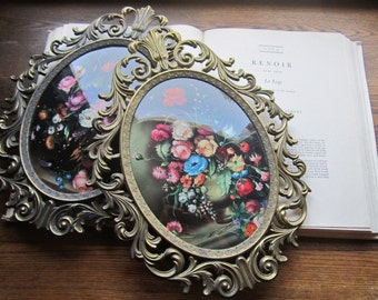 Vintage Art, 2 Large Italian Floral Prints, 13 x 10 Concave Glass, Italy *Vintage Italian, Home Decor, Ornate Florentine, Cast Metal Frames,