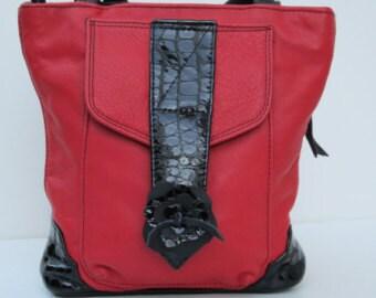 On Sale RED LEATHER BAG by Elizabeth Z Mow  Smokin Red Hot Handbag