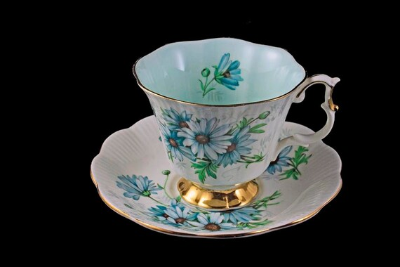 Footed Teacup and Saucer, Royal Albert, Marguerite Pattern, Dainty Shape, Bone China, Aqua Daisies, Gold Trim