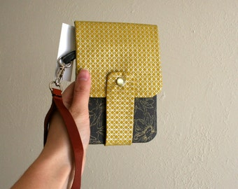 Gray and Gold Floral Print - Phone Wallet with Card Slots and Zipper- Leather Wrist Strap