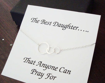 Triple Half Flat Circle Infinity Silver Necklace ~~Personalized Jewelry Gift Card for Daughter, Step Daughter, Daughter in Law, Bridal Party