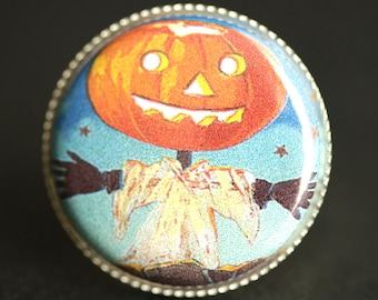 Cute Pumpkin Scarecrow Ring. Halloween Ring. Vintage Picture Ring. Adjustable Ring. Silver Ring. Halloween Jewelry. Handmade Ring.