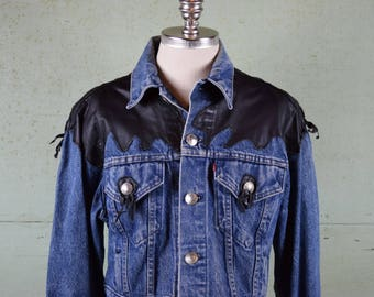 Vintage LEVIS Denim Jacket Crop Top / Customized by Barking Dog / Genuine Leather Biker / Indian Head Nickel / Made in USA / Tag size Large