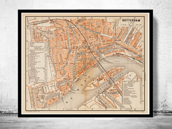 Old map of rotterdam netherlands 1891 old map of rotterdam netherlands 1891 gumiabroncs Gallery