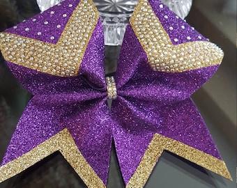 Purple/Gold Rhinestone Glitter Cheer Bow