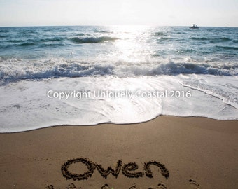 Name in Sand, Baby Boy Gift, Baby Girl Gift, Personalized Artwork, Beach, Nursery Decor - Owen