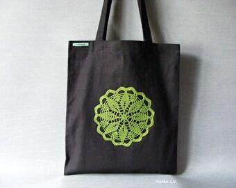 Tote bag, eco linen shopping bag, black tote bag, bag with crochet applique, grocery bag, summer canvas bag, handmade market bag, beach bag