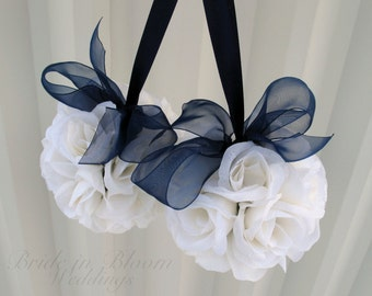 Wedding flower ball, Pomander navy blue and white Wedding decorations, Ceremony Aisle pew markers