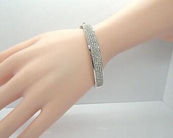 200 Gorgeous Diamond Pave Bangle Bracelet 14K White Gold 9mm Wide 21.8 Grams