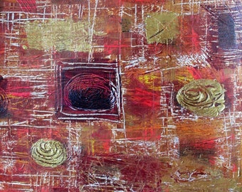 """Abstract 16"""" x 16"""" Acrylic Painting, Original Fine Modern Wall Art, Contemporary Home Decor, Gold, Rust, Brown, Orange"""