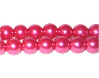 10mm Magenta Glass Pearl Bead, approx. 22 beads