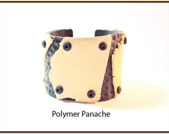 Cuff Bracelet 2 in. Cream Black Polymer Clay Goth Industrial Modern Style Handcrafted One of a Kind Gothic