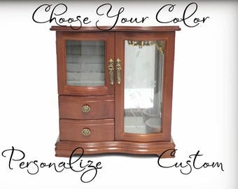 Custom Vintage Jewelry Box, Tall Curved Glass Jewelry Armoire, Hand Painted Wood Jewelry Organizer, Personalized Gift for Her, Monogram