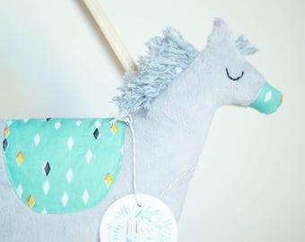 Stuffed Plush Pony grey & turquoise tones with diamond pattern