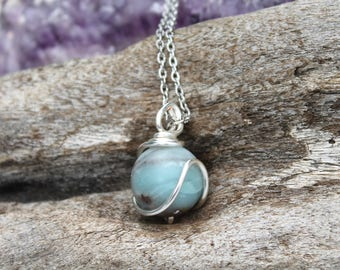 Amazonite Necklace - Crystal Ball Jewelry - Amazonite Sphere - Bohemian Jewelry - Wire Wrapped Stone Pendant - Wedding Jewelry - Boho Chic