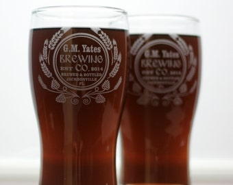 HomeBrew Custom glasses with  Modern Hops and Wheat Design. Homebrew, fathers day gift,custom pint,engraved pint, custom Beer Glass