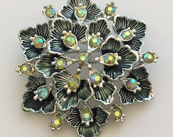 Vintage Signed BSK  green Flower Brooch