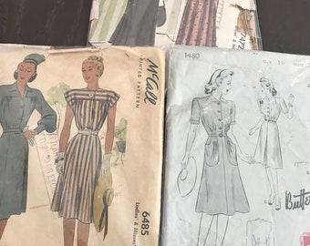 3 Original  1940's Ladies Dress Sewing Patterns