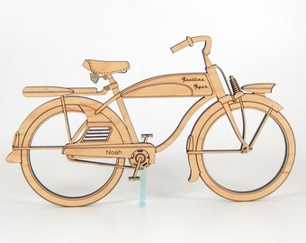 Wooden Bicycle Personalized Retro Wall Art Decor Boy