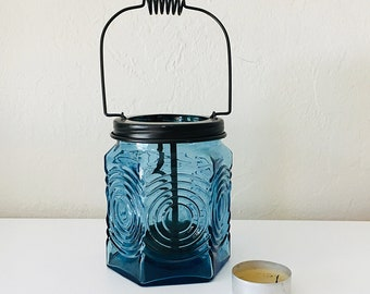 Coastal Candle Glass Blue Vintage by SEASTYLE