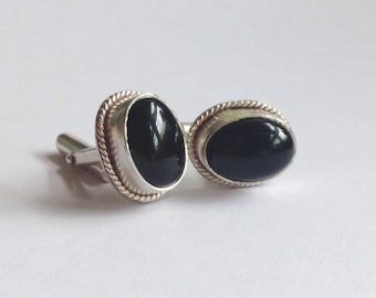 Onyx and Sterling Silver Cuff Links - Men's Cuff Links - Anniversary Gift for Him - Men's Wedding Cuff Links