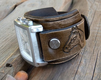 Leather cuff watch, Mens leather watch, Horses leather cuff watch, Antique brown rustic leather Wrist Watch
