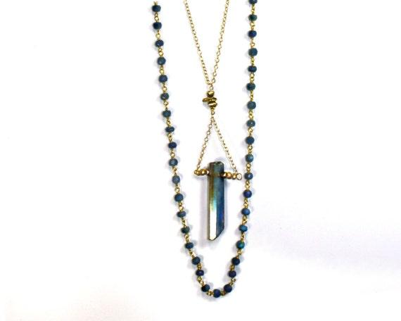 Mystic Quartz Point Bar Necklace. Unique Boho Statement Necklace. Gold Fill, Iolite Rosary, Pyrite Bar. NL-1600
