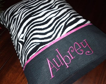 Personalized Pillowcase Zebra Print STANDARD SIZE
