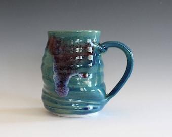 Coffee Mug Pottery TWISTED, 14 oz, unique coffee mug, handmade ceramic cup, handthrown mug, stoneware mug, pottery mug, ceramics and pottery