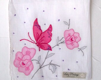 Vintage Handkerchief - Pink Butterfly and Roses - Madeira Hand Embroidery and Applique - MWT Unused