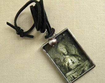 Large Buddha Necklace with Pearl, Zen Jewelry, Miniature Art Necklace, Geometric Pendant, Women's Necklace,Photography Jewelry,Mens Necklace