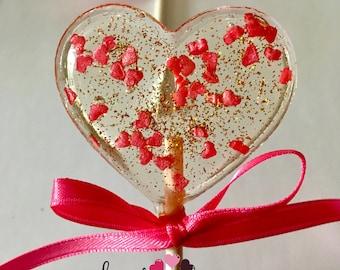 Floating Hearts Lollipops - Hard Candy Lollipops- Valentines Day-Birthday- Bridal shower- Wedding