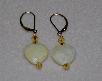 Handmade Gold Filled Swarovski Crystal Yellow Calcite Heart Earrings