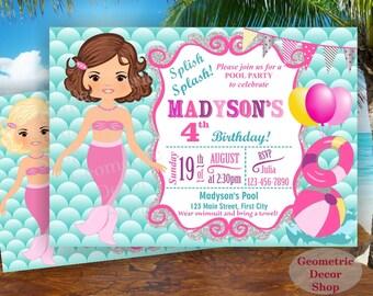 Mermaid POOL PARTY Invitation, Pool Party, Pool Bash, Birthday Invitation, Birthday Invite Girl Swimming Pink Purple Aqua Teal #BDMER5