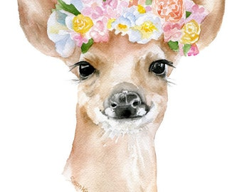 Deer Fawn Floral Watercolor Painting 4 x 6 - Giclee Print Reproduction - Woodland Animals - Girls Room Nursery Decor