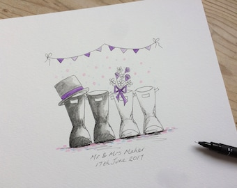 Personalised Wedding Wellies. Gorgeous hand drawn, painted & personalised Wedding Wellies. The perfect unique Wedding gift