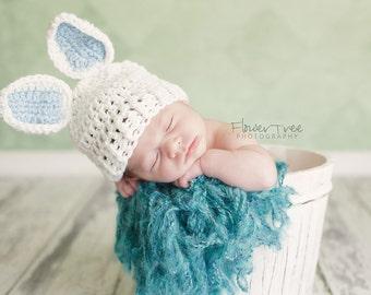 Newborn Bunny Hat, Newborn Photo Prop, Newborn Easter, Boy Bunny Hat, Easter Hat, Easter Bunny Hat, Newborn Boy Hat, Crochet Baby Hat