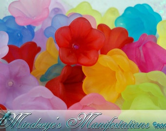 Frosted Translucent Acrylic Flowers 15x10mm