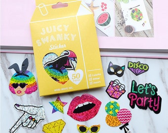 Set Of 50 Glittered Party Hard Stickers