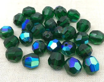 12 Vintage Emerald Green AB German Faceted Glass Beads