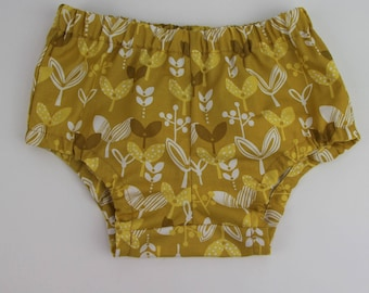 Baby Bloomers Size 1 / Mustard Bloomers Nappy Cover / Retro Bloomers / Diaper Cover / Girls Bloomers