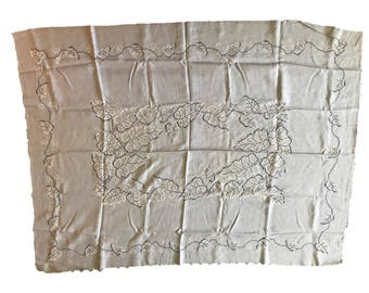 1951 Hand Embroidered Grey Linen Tablecloth (48x64) and 8 Napkins