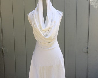 Fire Safe cowl dress; one of a kind open back fire performance outfit; burningman dress