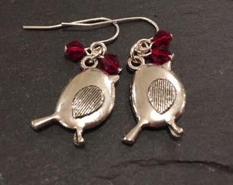 Robin earrings, Bird Earrings Girl's stocking filler, christmas jewellery