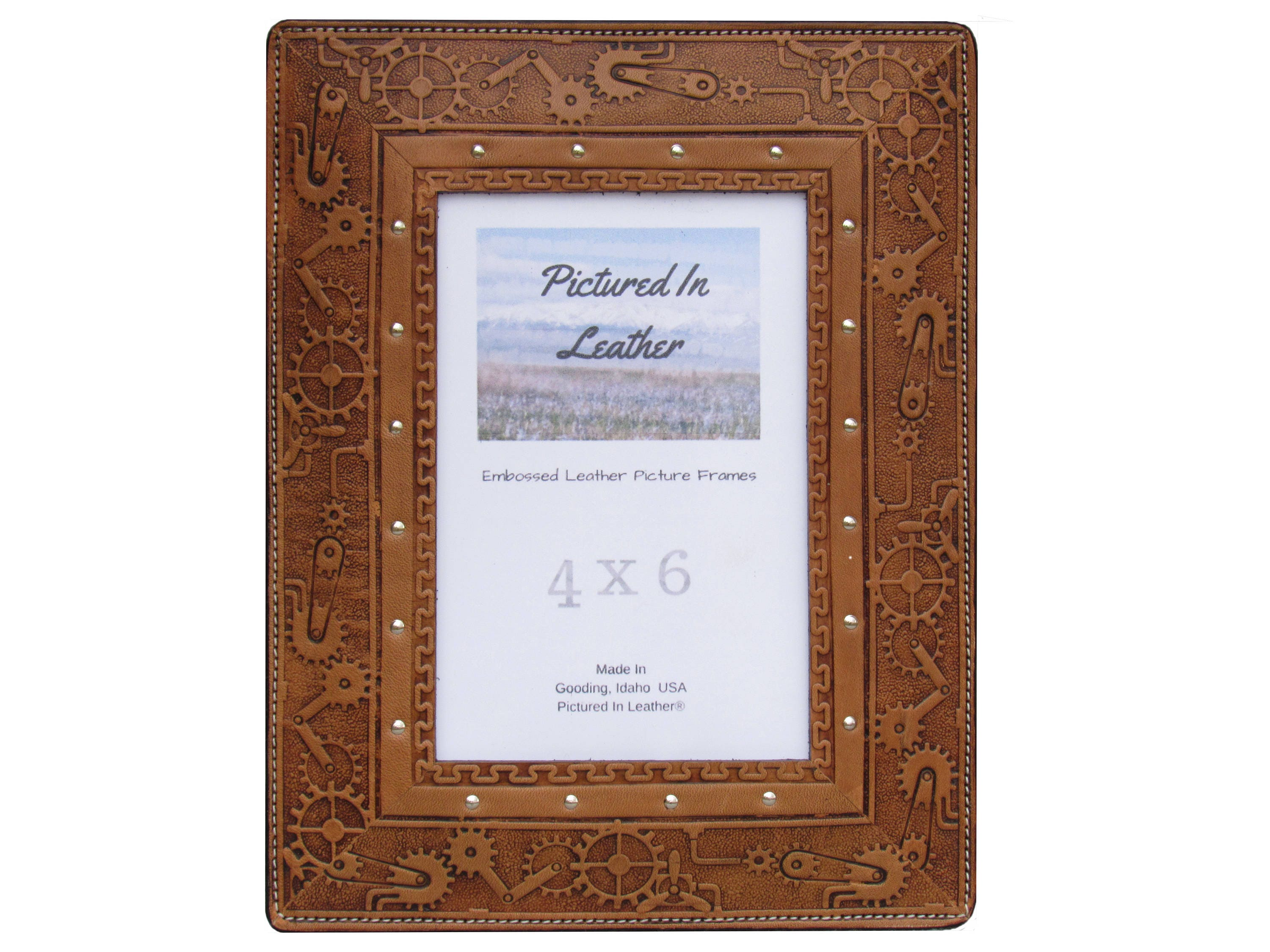 Leather picture frame 4x6 light brown embossed steampunk design leather picture frame 4x6 light brown embossed steampunk design steampunk picture frame leather steampunk photo frame ready to ship jeuxipadfo Image collections