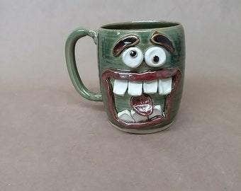 Slightly Crazy Gym Bro Face Mug. Big Man's Beer Mug 20 Oz Huge Pottery Coffee Cup. UgChugs by Nelson Studio.  Ceramic Stein Frosty Green.
