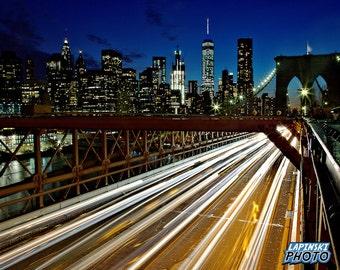 "Brooklyn Bridge New York City Photograph, Color Photography, NYC Photo, Wall Art, Art Print, City Lights, ""NYC Lights"""