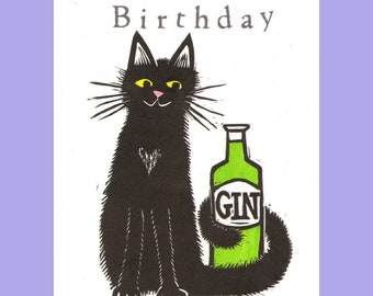 Cat and Gin hand-printed lino cut card