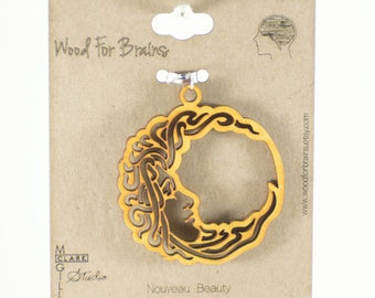 Nouveau Beauty Laser Cut Wooden Pendant